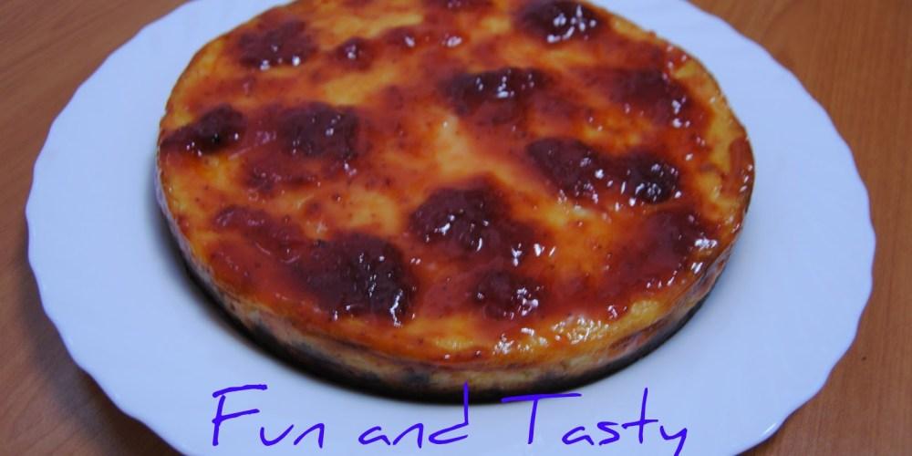 Tarta queso con mermelada frambuesa