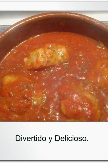 Bacalao en salsa de pimientos.