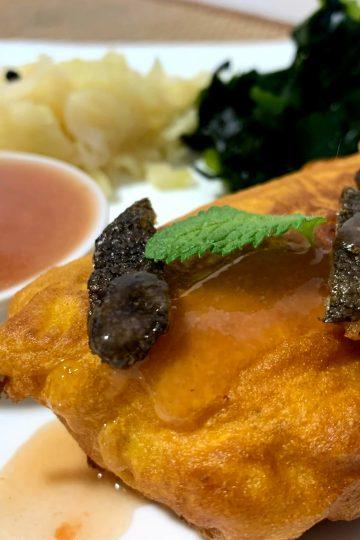 Bacalao con col encurtida y algas wakame