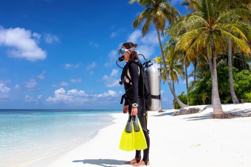 woman in dive gear