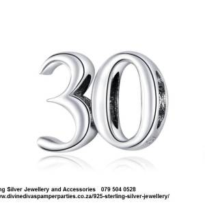 925 Sterling Silver Number 30 Thirty Celebration Birthday Charm. Pandora Compatible