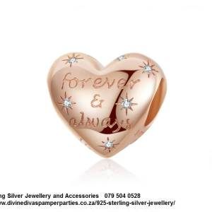 925 Sterling Silver Rose Gold plated Heart Cz Charm. Pandora Compatible