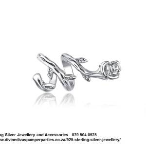 925 Sterling Silver Charm Curling Rose Stem Beauty and the Beast . Pandora Compatible