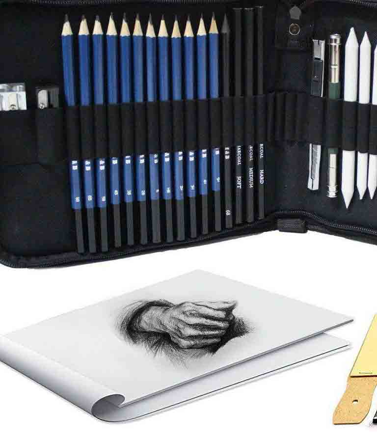 Tinpa 33 PCS Professional Sketch Kit For Sketching and Drawing