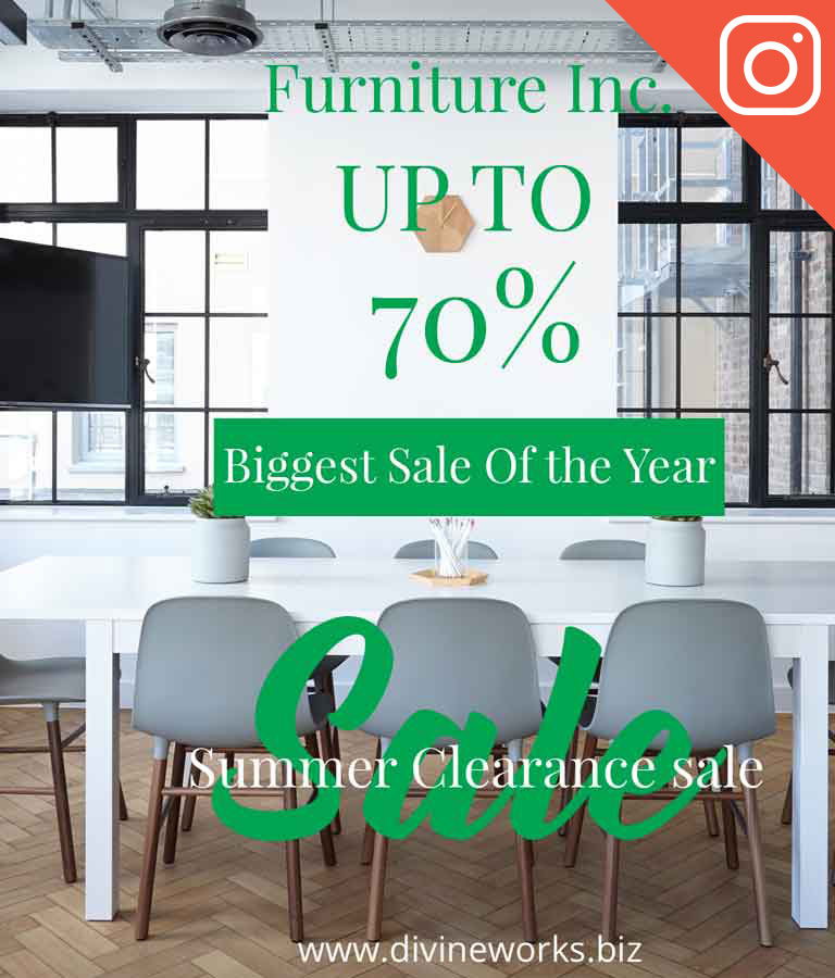 Free Furniture Sale Instagram Post Template by Divine Works