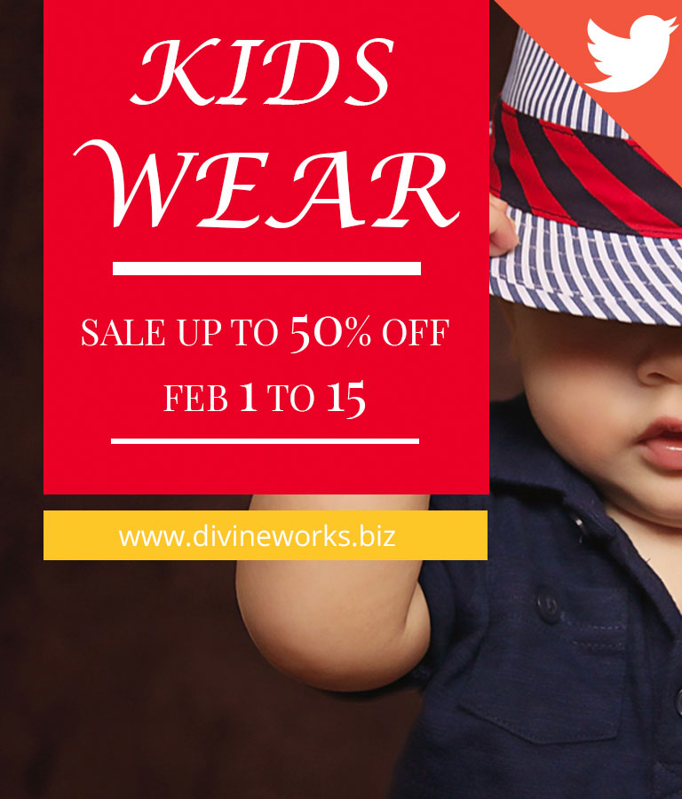 Free Kids Wear Twitter Post Template by Divine Works