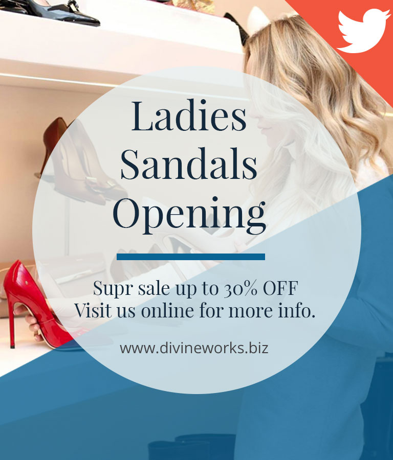 Free Ladies Sandals Sale Twitter Post Templates by Divine Works
