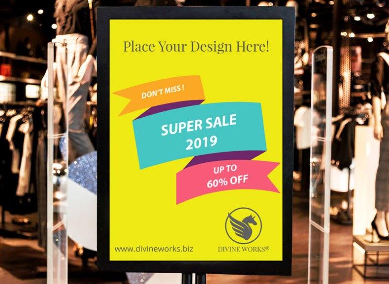 Free Shop Outside Board Mockup by Divine Works