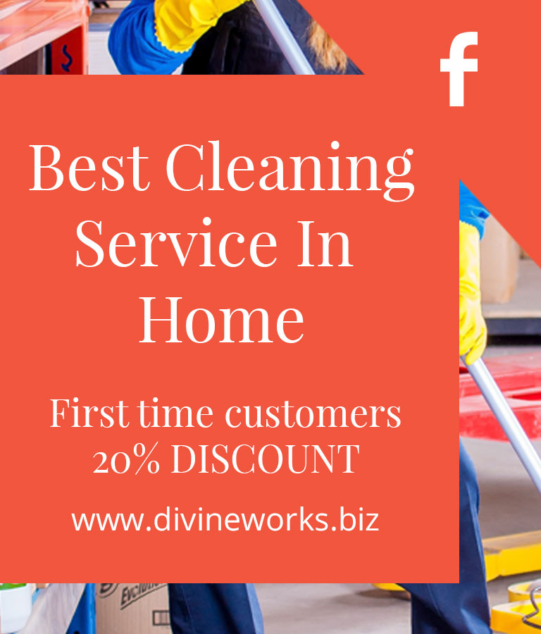 Free Cleaning Service Facebook Cover Photo Template by Divine Works