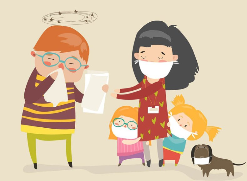 Social Worker With Kids Caretaker Sick Vector