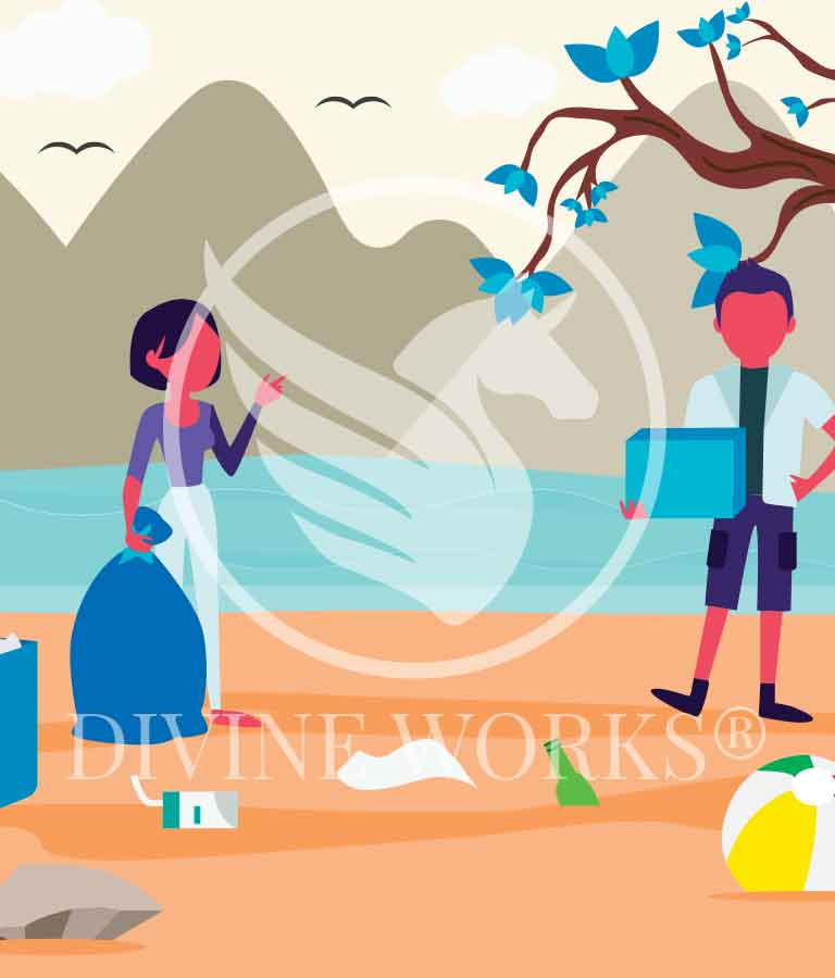 Free Adobe Illustrator Cleanup Garbage Vector Illustration by Divine Works