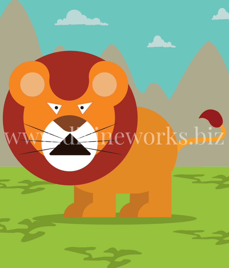 Free Adobe Illustrator Lion Character Vector Illustration by Divine Works