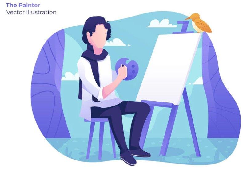 The Painter Vector Illustration