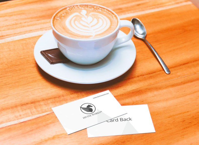 Download Business Card with Coffee Cup Mockup by Divine Works