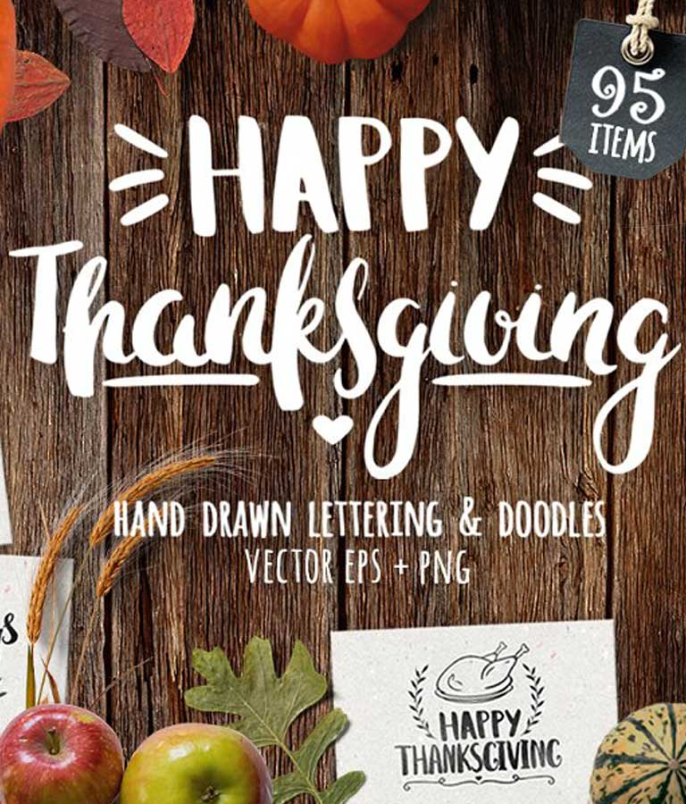 Thanksgiving Day Lettering & Clipart