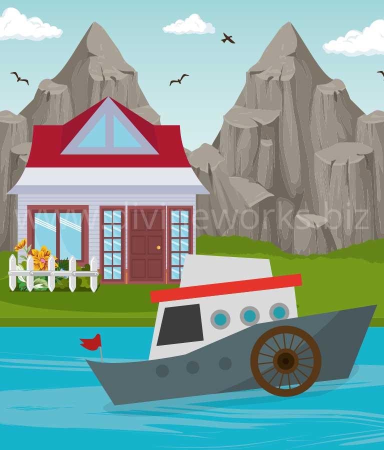 River House Vector Art