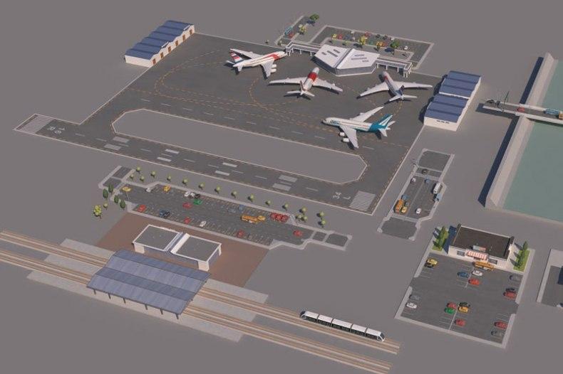 Low poly 3D Cartoon City Modular