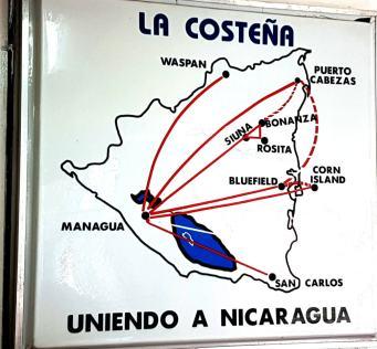Flugrouten Managua