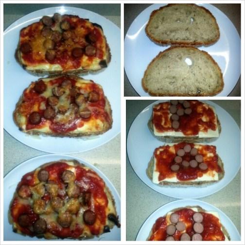 Pan de Cea con queso para fundir, tomate casero y salchichas de Frankfurt.