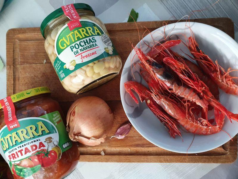 Ingredientes receta Pochas con Langostinos