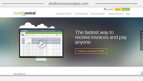 Invoice Central     Divi Theme Examples Divi theme site for invoicing software