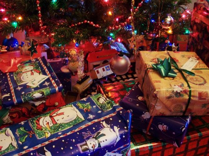 Christmas presents beneath a Christmas tree