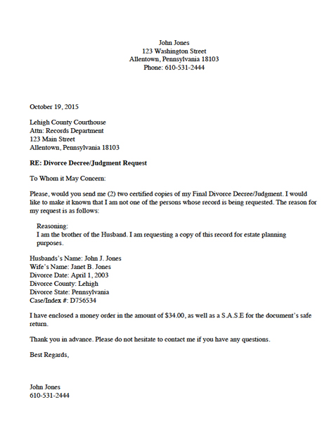Divorce Record Request Letter