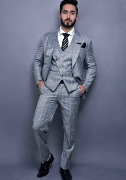 three piece suit for men in check