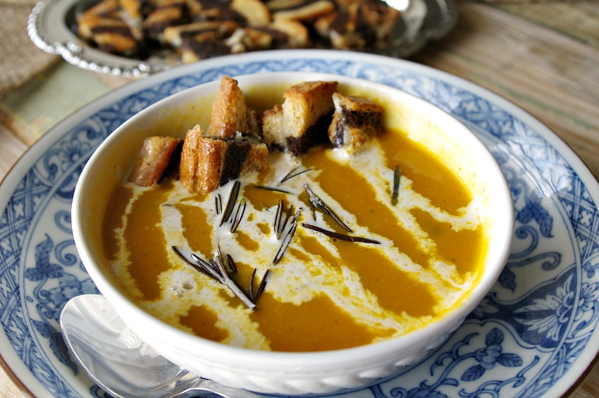 Butternut Squash Soup with Grilled Cheese Croutons