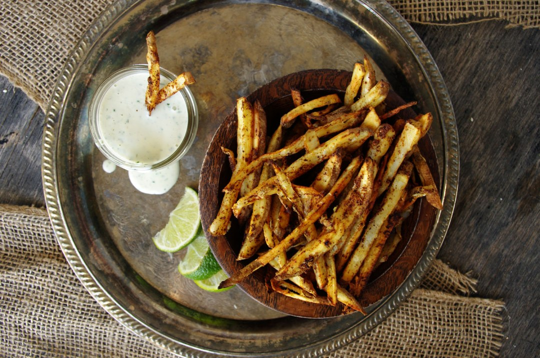 Mexican Street Fries with Cilantro Lime Salsa Verde Ranch