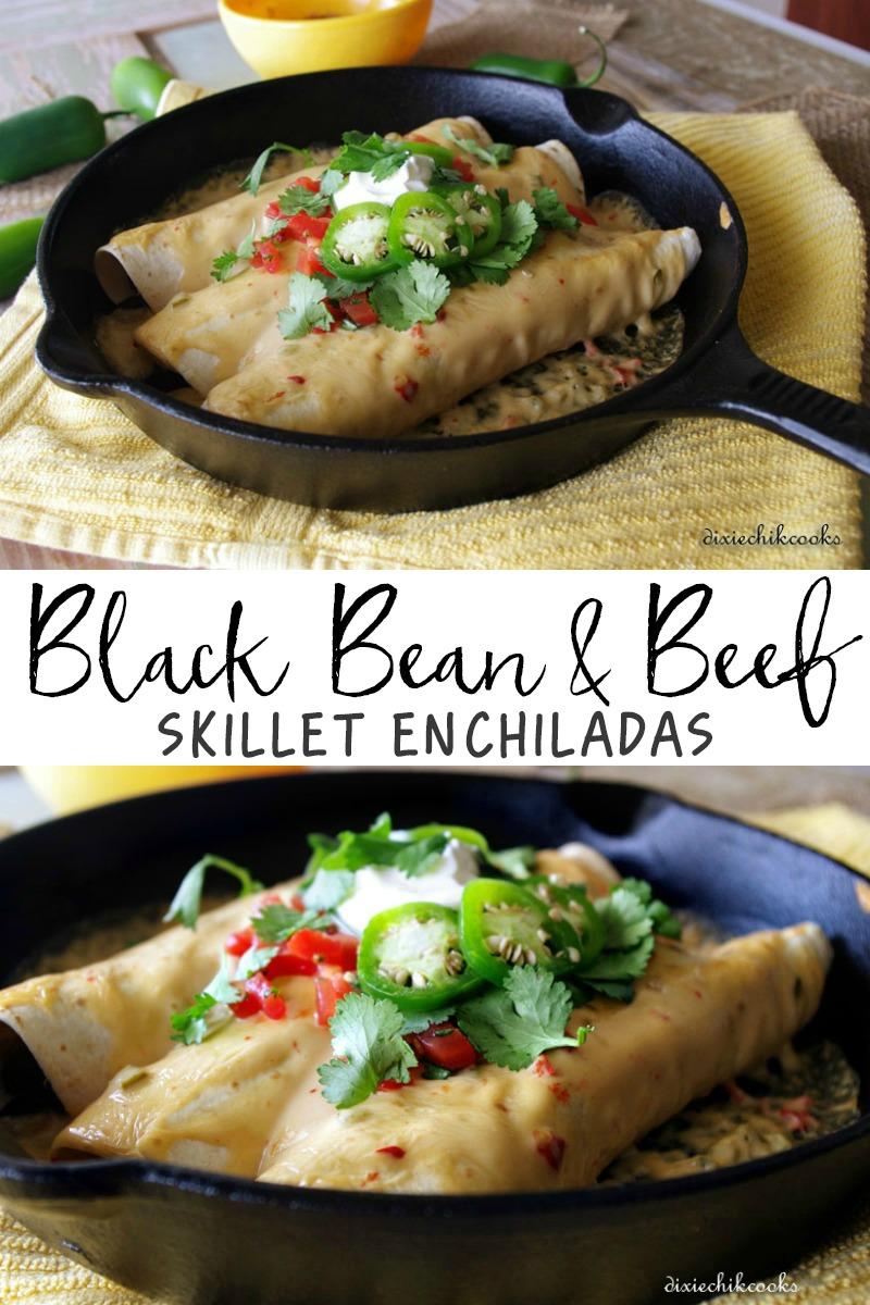 Black Bean and Beef Skillet Enchiladas