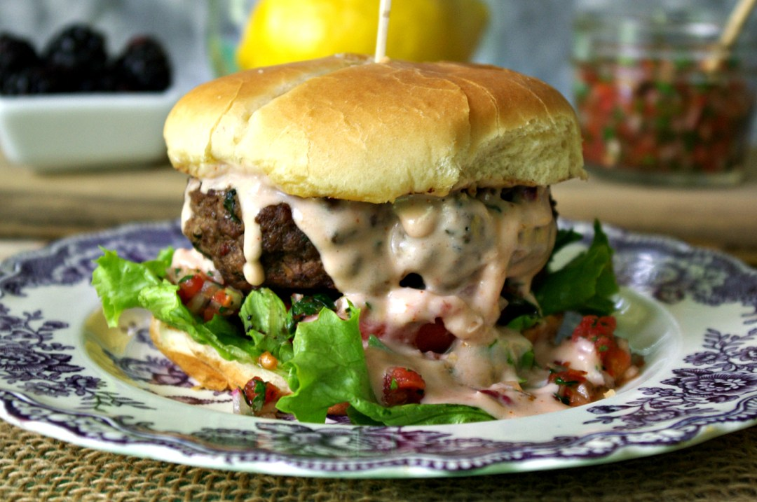 Tabbouleh Burger with Smoked Pork Shoulder and Blackberry Cheese Sauce