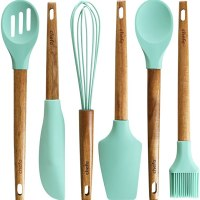 Silicone Baking Utensils - Balloon whisk, Slotted & Solid Kitchen Spoon, Spatula, Long Scraper and Pastry Brush, Acacia Hard Wood Handle