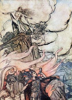 Arthur Rackham - Siegfried blåser i sitt horn