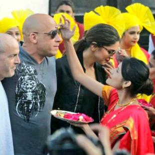 Vin Diesel and Deepika Padukone welcomed in India Band Baaja style