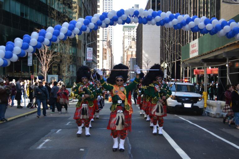 Indian American Scottish Bagpipe plays NYC's Tartan Day Parade