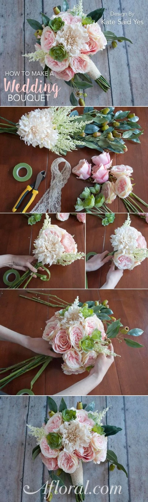 This guide for a DIY wedding bouquet is so AWESOME! I never thought of making my own until this!