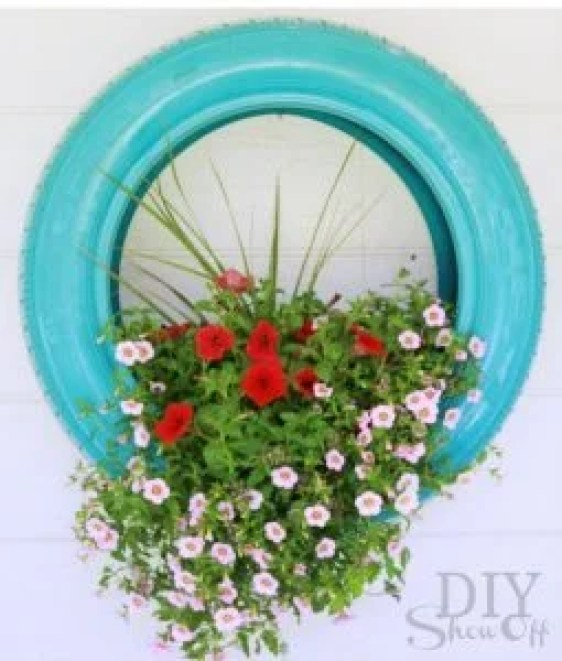 Blue Recycled Tire Container Flower Garden