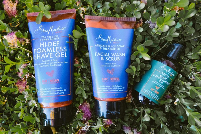 SheaMoisture Tea Tree Oil and Shea Butter Hi-Def Foamless Shave Gel, Beard Conditioning Oil and African Black Soap and Shea Butter Facial Wash and Scrub Review