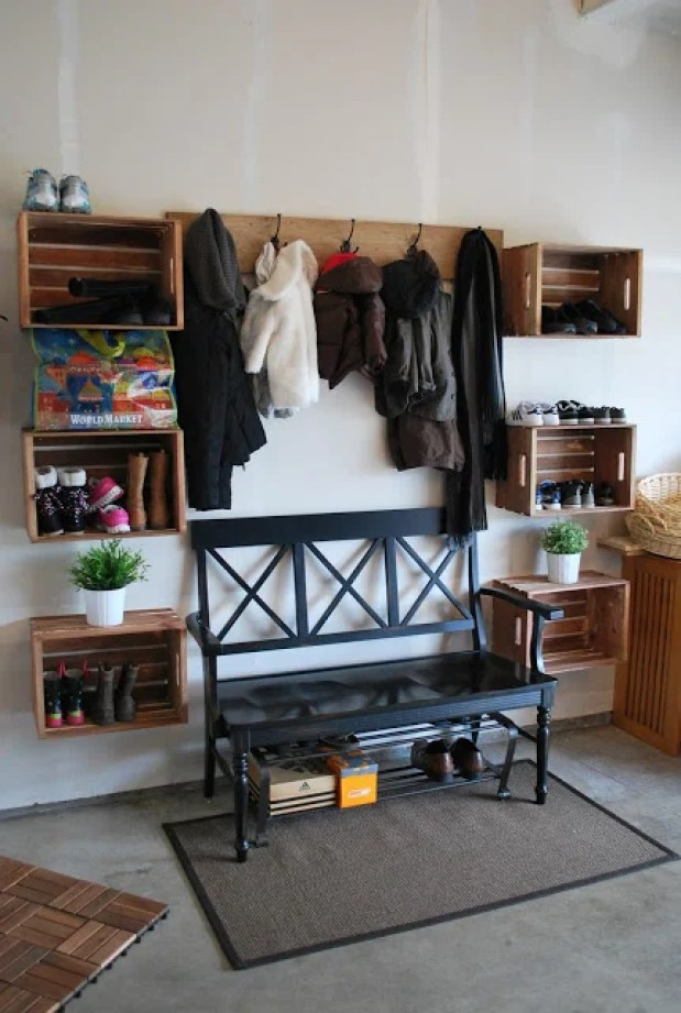 Floating Shelves Mudroom Idea