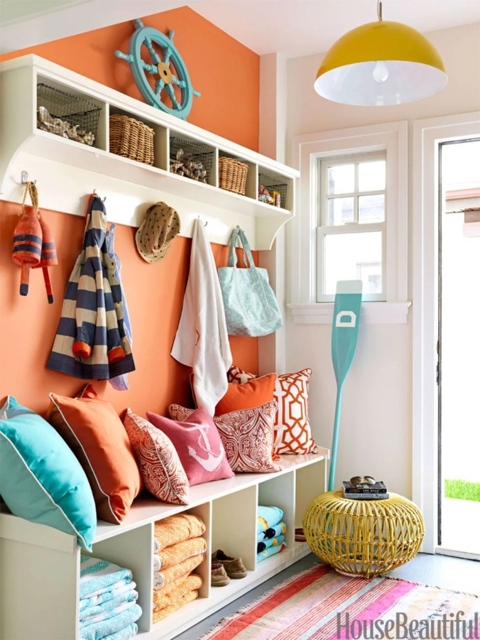 Orange Seaside Escape Mudroom Idea