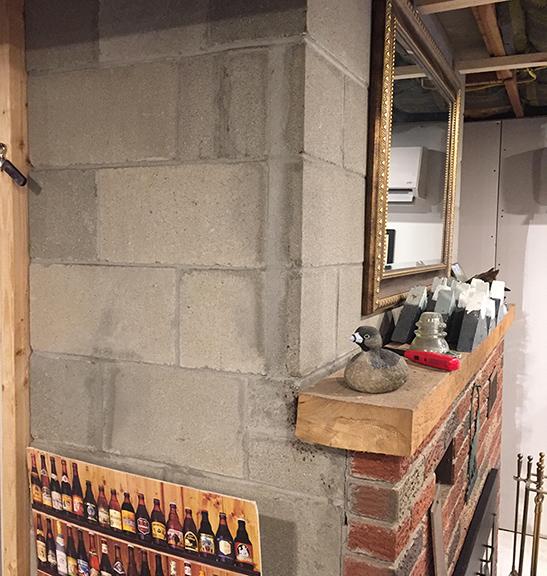 Finishing A Cinder Block Basement Fireplace - Remodeling ... on Diy Cinder Block Fireplace id=30676