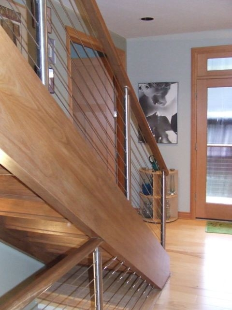 Wire Staircase Railings Remodeling Diy Chatroom Home | Tension Wire Stair Railing | Stainless Steel | Simple | Aluminum Commercial | Residential | Wire Balustrade