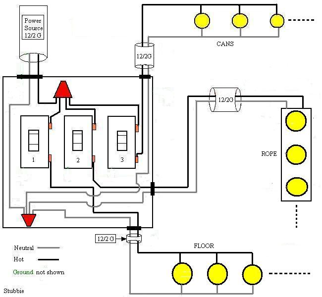 wiring multiple schematics and a light switch to one breaker