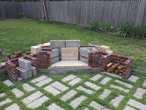 6 Weeks To An Outdoor Fireplace, Here We Go... - Project ... on Outdoor Fireplace With Cinder Blocks id=35820