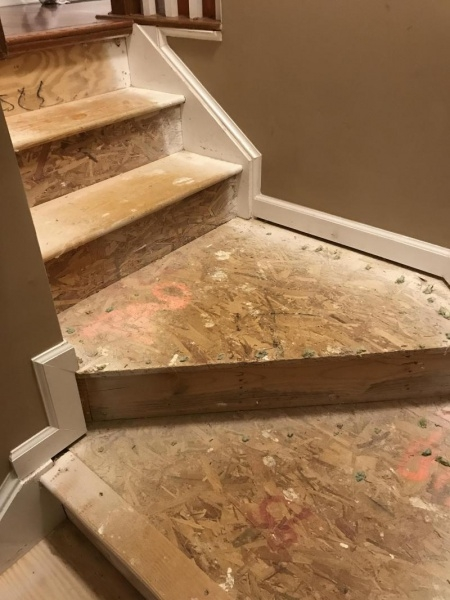 Help Hardwood And Particle Board Mix Stairs Under Carpet | Wedge Shaped Carpet Stair Treads | Beige | Spiral Stairs | Wood | Adhesive Carpet | Flooring