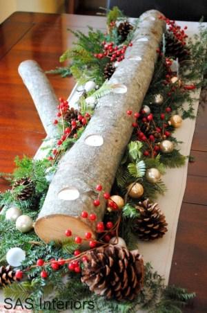 DIY Chrsitmas Log Candle Holder