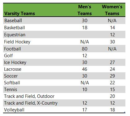 Listing of Endicott College athletic teams