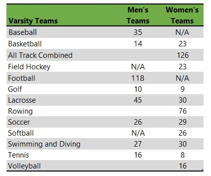 University of Delaware athletic team listing