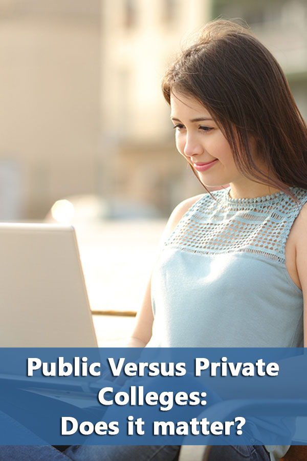 Differences between public versus private colleges. Includes a table showing percentage of students attend public schools by state.